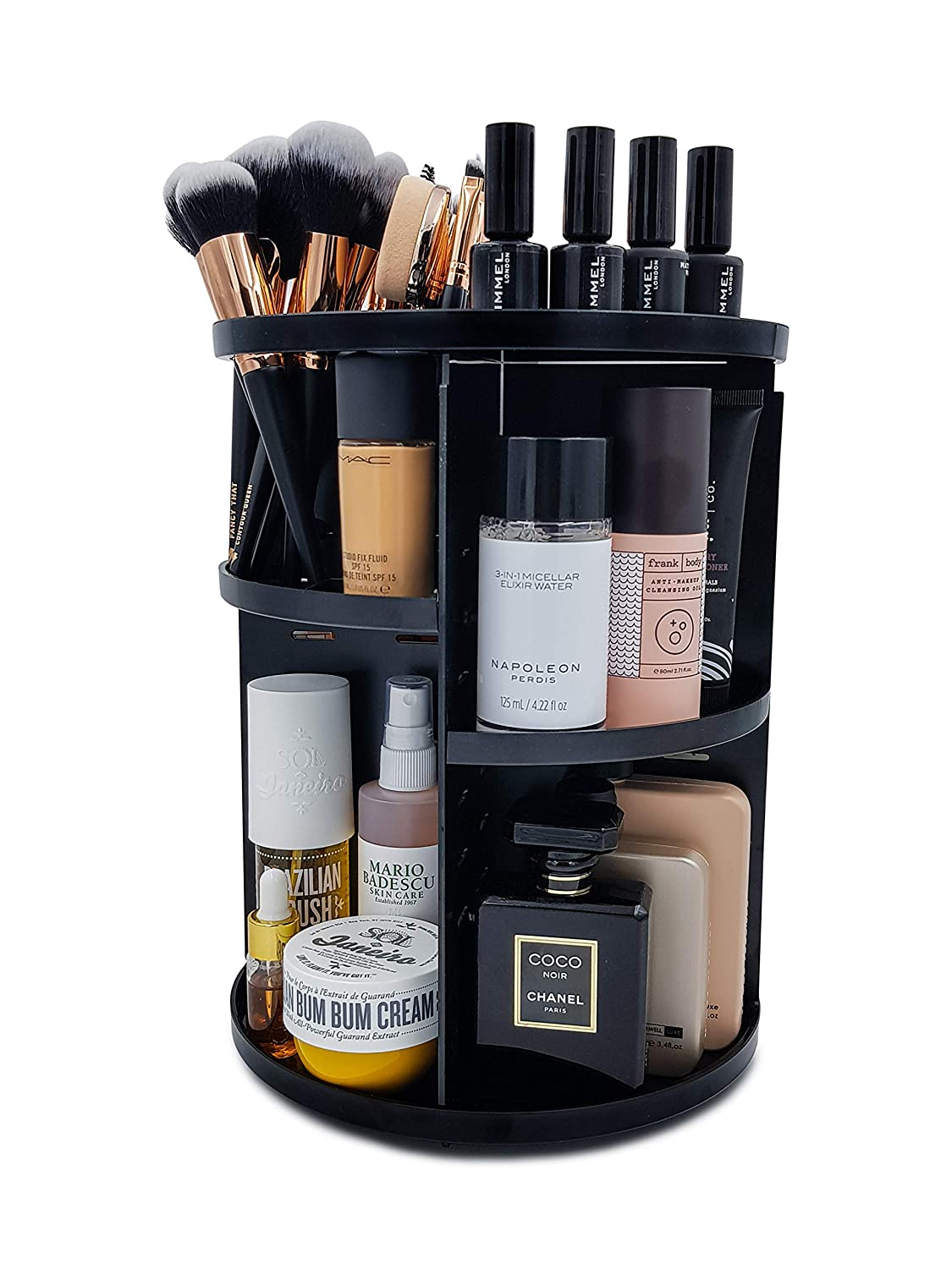 """Luxx Chicc 360 Rotating Makeup Organizer, Cosmetics Carousel with 8 Cubbies Eliminates Bathroom Countertop Clutter and Keeps Your Favorite Beauty Products at Your Fingertips (12.2""""H x 9.06""""W)"""