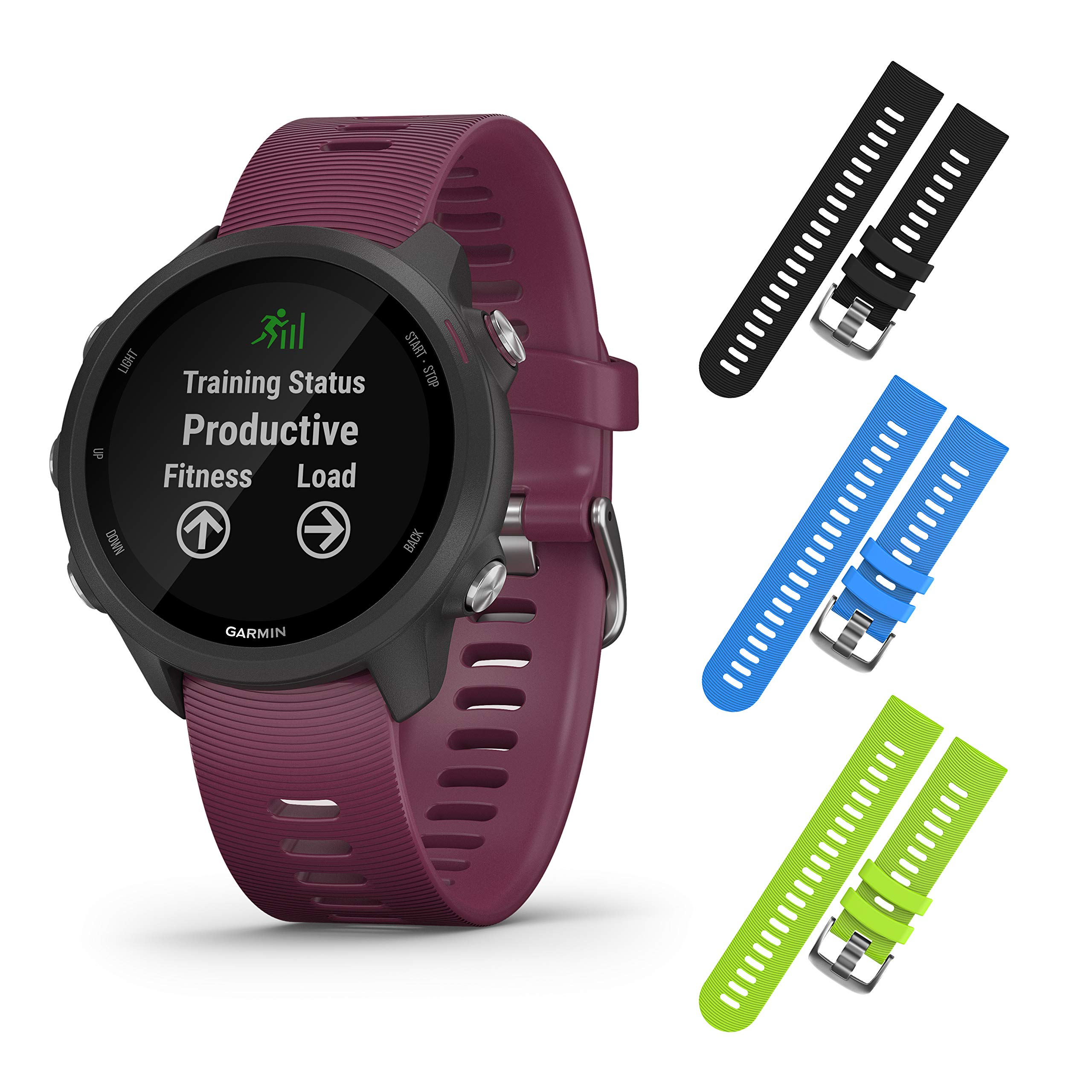 Garmin Forerunner 245 GPS Running Smartwatch with Included Wearable4U 3 Straps Bundle (Berry 010-02120-01, Black/Blue/Lime)
