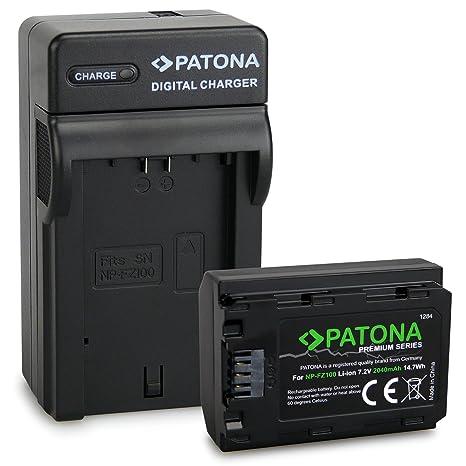 PATONA 3en1 Cargador con Premium Batería NP-FZ100 para Sony Alpha 9 / Alpha 7RM3 / 7M3 / A7 R III/Sony BC-QZ1