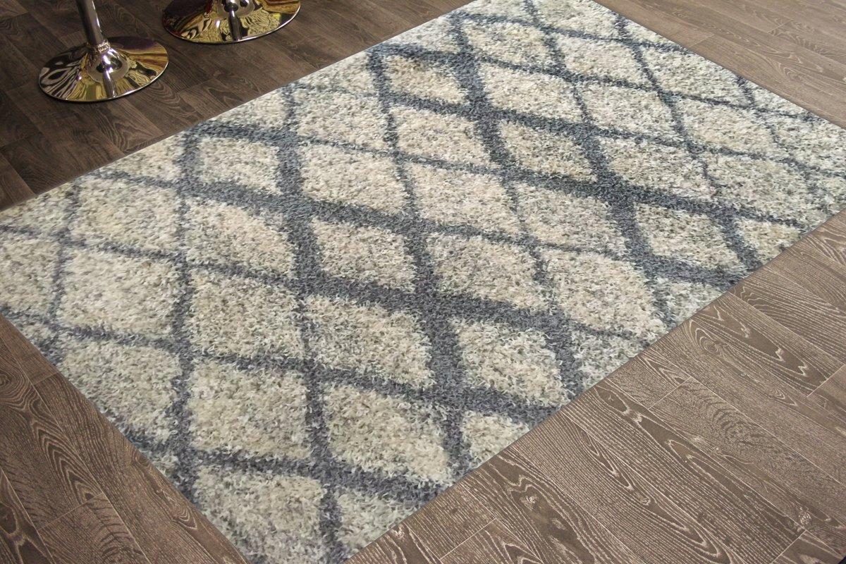 Adgo Chester Shaggy Collection Moroccan Mediterranean Trellis Lattice Design Vivid Color High Pile Carpet Thick Fluffy Kids Bedroom Living Dining Room Shag Floor Rug, 6' x 9', S26 - Grey Ivory
