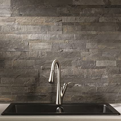 Aspect Peel And Stick Stone Overlay Kitchen Backsplash   Iron Slate  (approx. 15 Sq