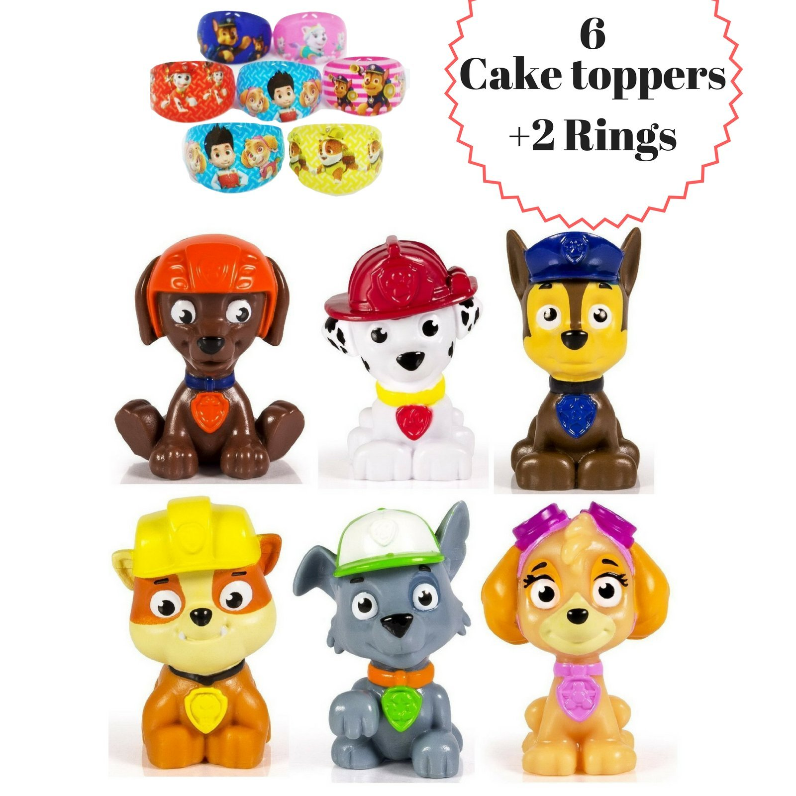 ToysoutletUSA Paw Patrol Cake Topper | 8 pcs Set Including 2 Free Rings | Mini Toy Figures For Cupcake Decorations