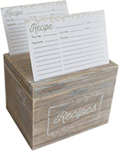 Dekali Designs Rustic Recipe Box and Cards and Dividers (4x6 Inches) - Comes with 50 Recipe Cards and 12 Beautiful Dividers - Wood Recipe Holder With Dual Slots