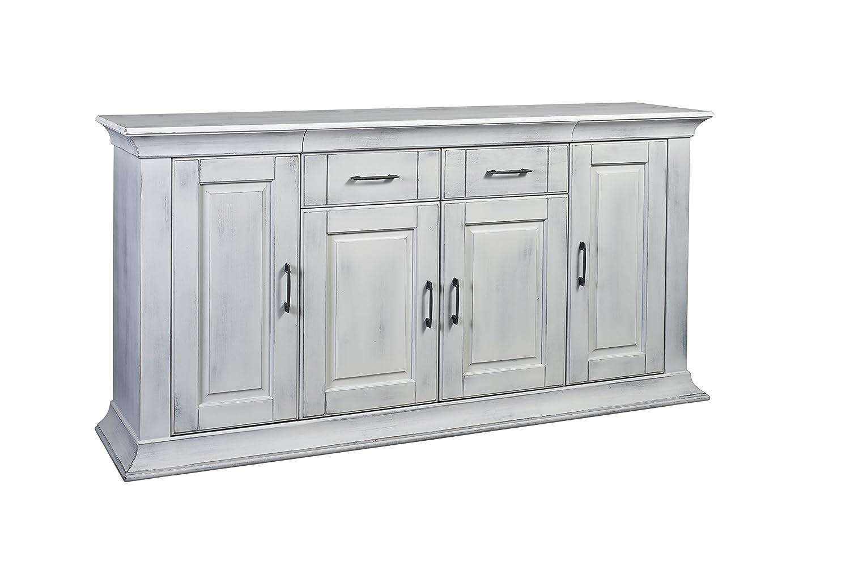 BFK Möbel Collection 222004 Anrichte Brooklyn, 180 x 95,5 x 42,5 cm, pappel teilmassiv, antik weiß gewischt