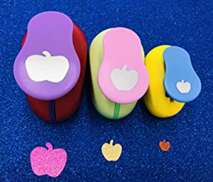 3 pcs Apple Punch Set 8mm 15mm 25mm - Scrapbook Paper Punchers, Apple Craft Punches, Apple Shape Paper Punches for Card Making DIY Albums