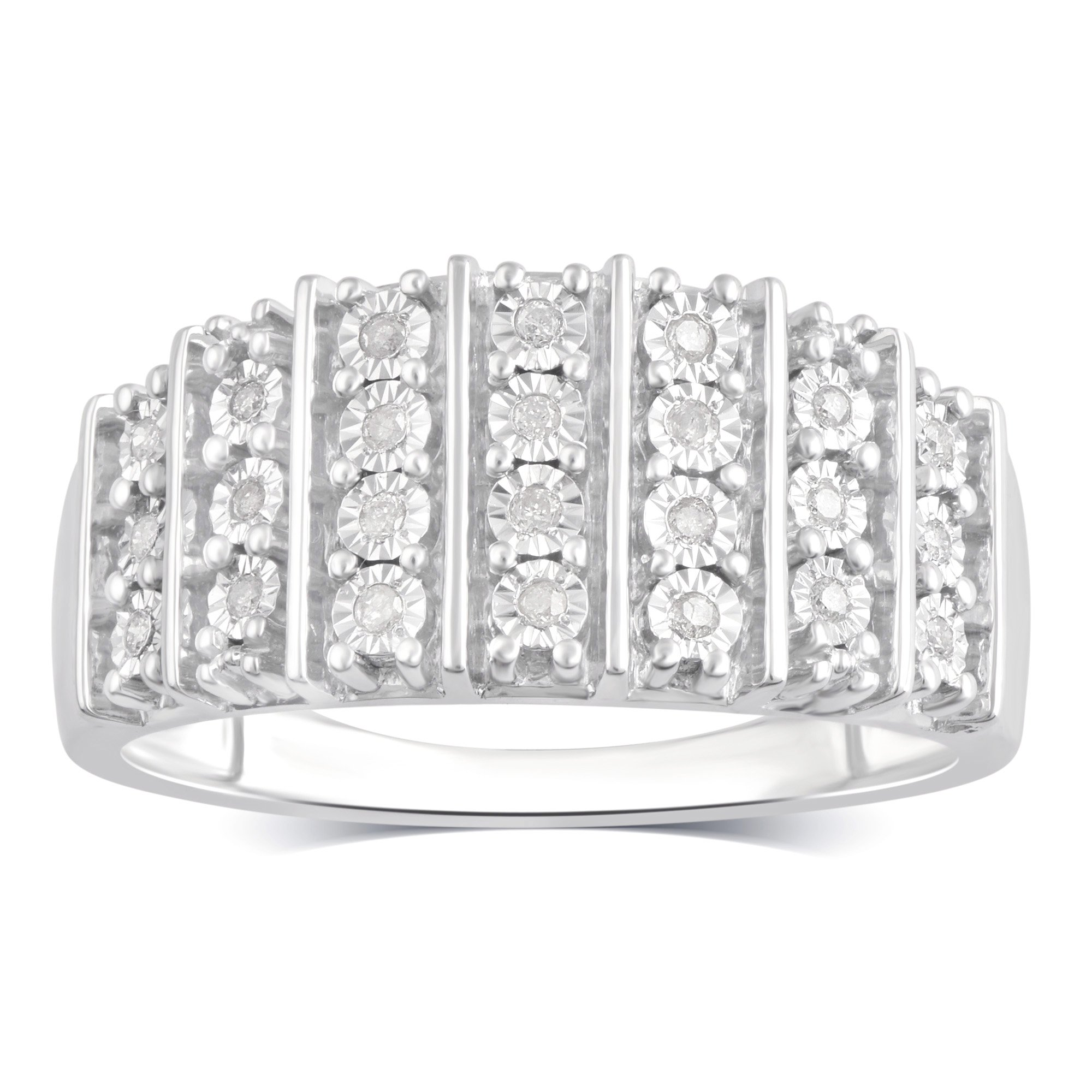 Sterling Silver Diamond Anniversary Ring (1/10 cttw, J-K Color, I3 Clarity)