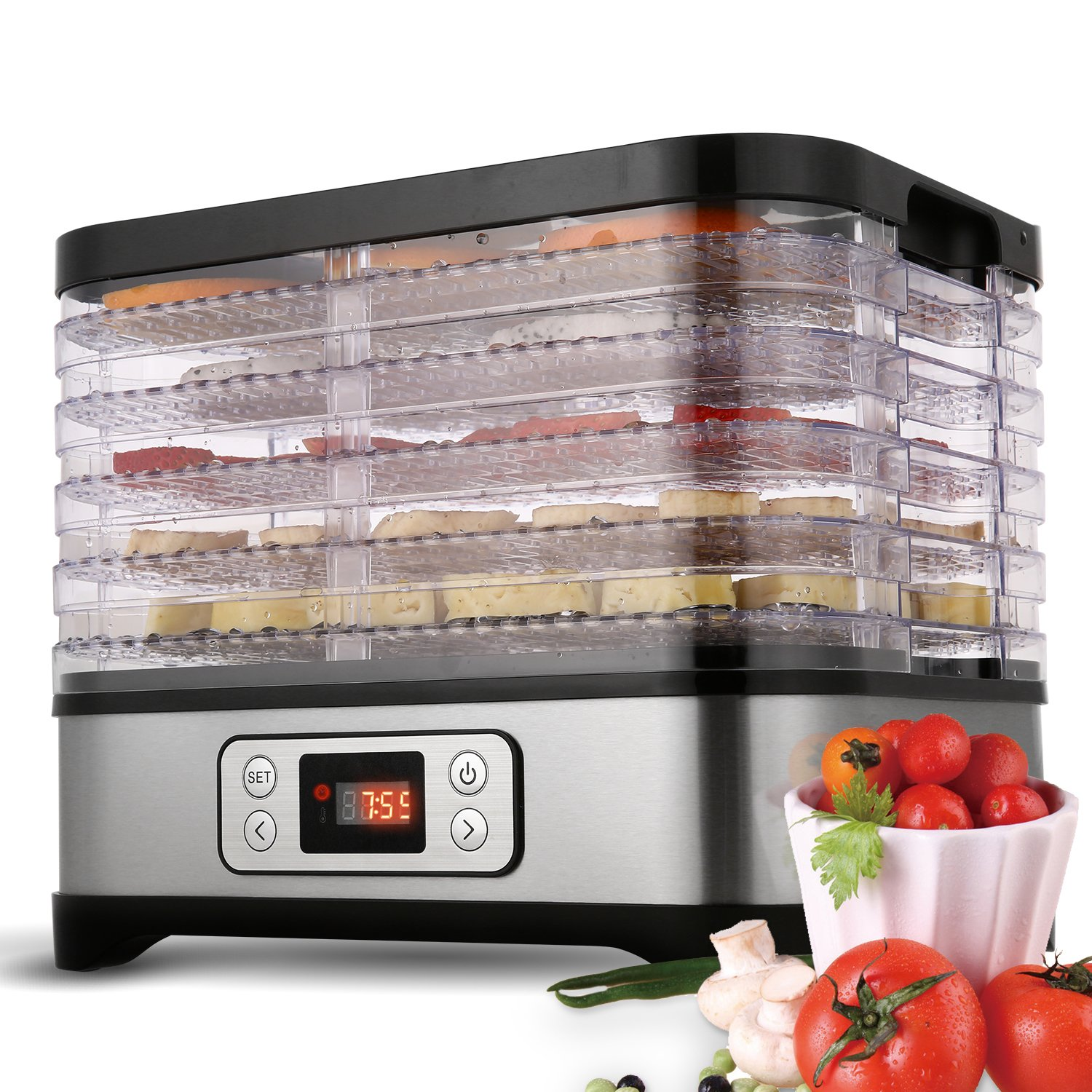 Electric Food Dehydrator Machine, 5-Tier Food Preserver with Temperature Control from 95ºF to 158ºF for Beef Jerky, Dried Fruits, Vegetables, BPA free & Dishwasher Safe (LCD/250W)