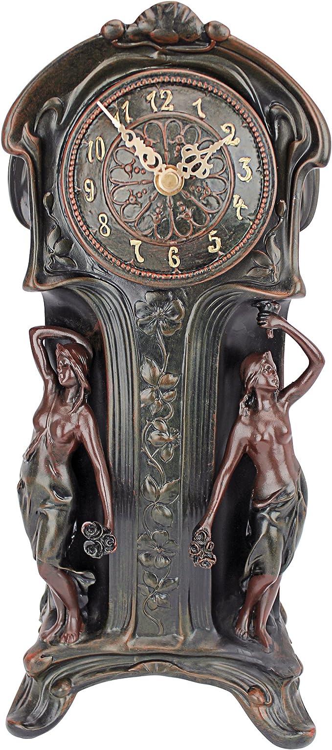 Design Toscano Dual Maiden Art Nouveau Mantelpiece Clock Verdigris
