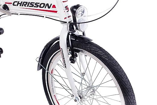 20 pulgadas bicicleta plegable para bicicleta plegable aluminio bicicleta CHRISSON foldrider 3.0 con 7 velocidades Shimano Nexus Blanco: Amazon.es: ...