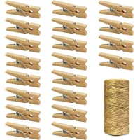 Mini Natural Wooden Clothespins with Jute Twine, 250pcs, 1 Inch Photo Paper Peg Pin Craft Clips with 66ft Natural Twine…