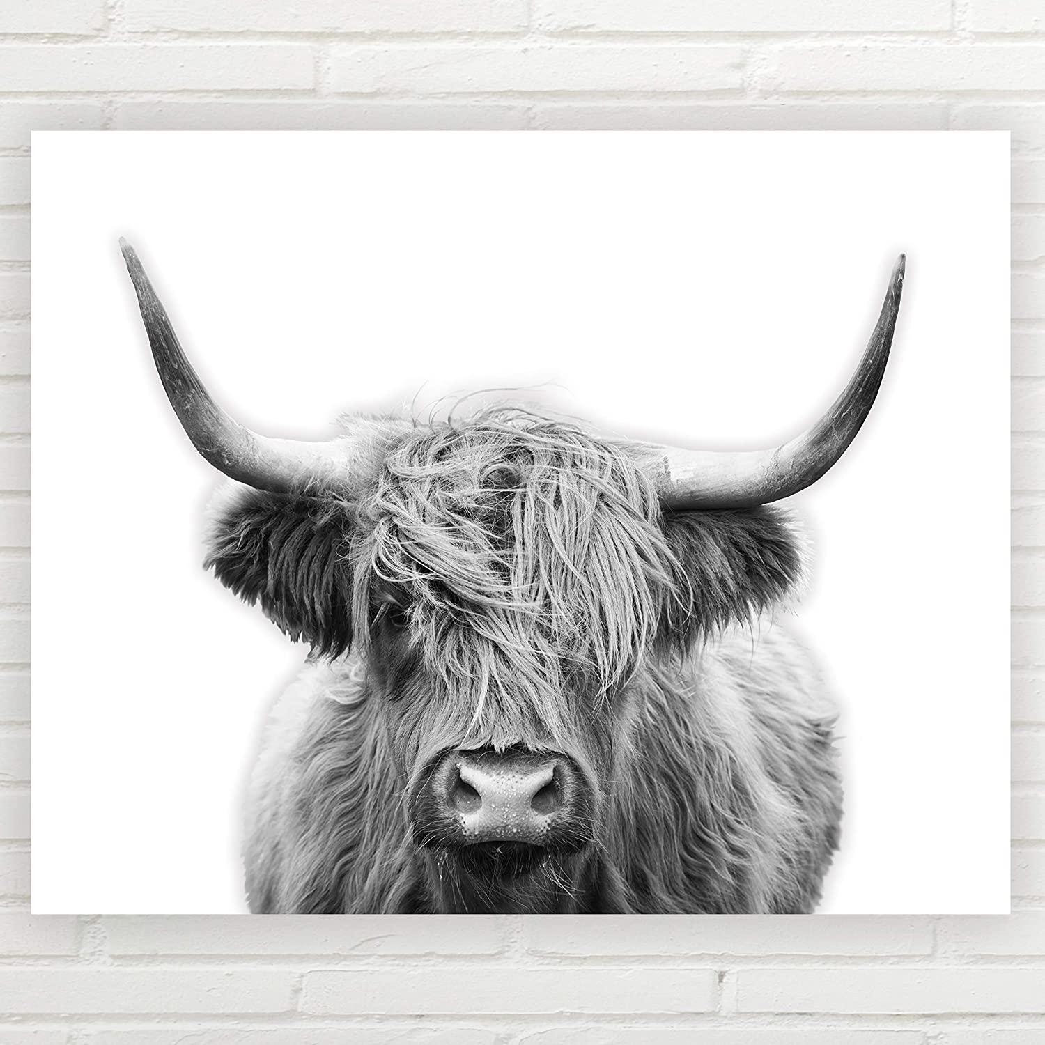 Amazon Com Highland Cow Wall Art Unframed 11x14 Inch Farmhouse Print Fine Art Cow Wall Decor Farmhouse Decor Minimalist Art Cow Wall Art Great Gift Highland Cow Wall Decor Handmade