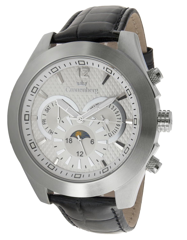 Cronenberg Herren-Armbanduhr XL Analog Automatik Leder 12073W1