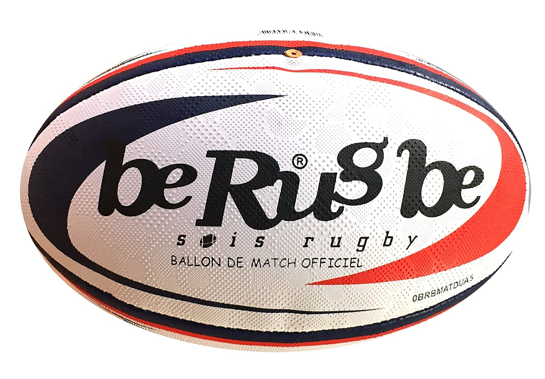 beRugbe Match Dual Ballon de rugby Bleu/Rouge Taille 5