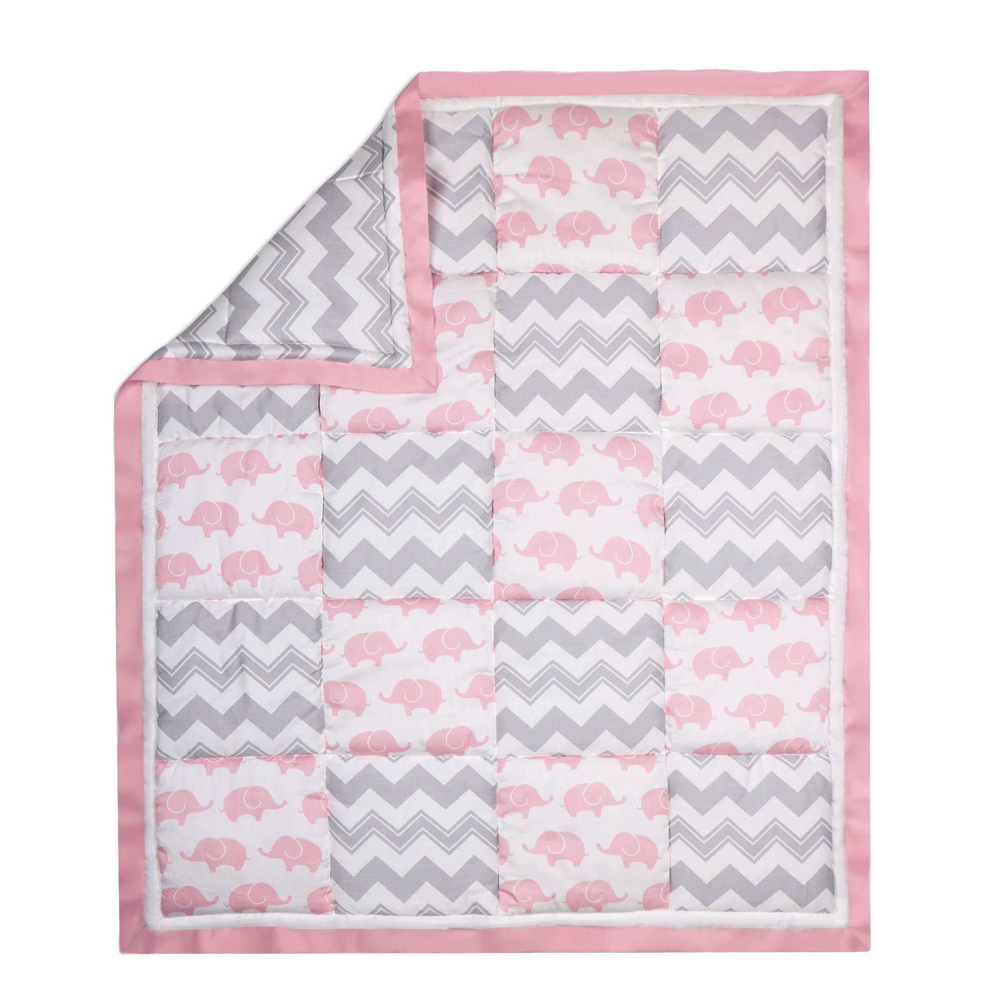 Grey and Pink Elephant and Zig Zag Crib Quilt by The Peanut Shell
