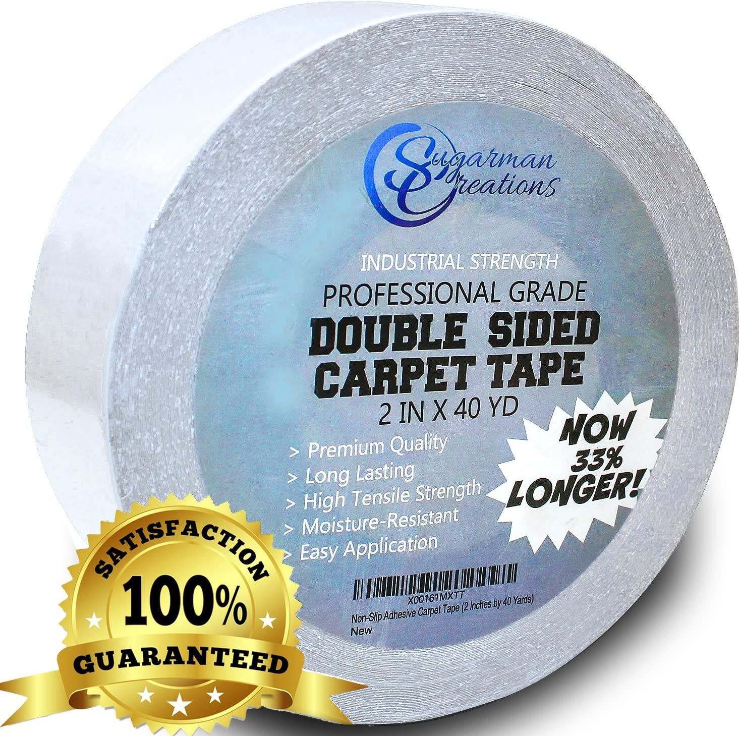 Sugarman Creations Strongest Double Sided Carpet Tape-[2-Inch-by-40-Yard, 120 feet!-2X More!]- 5 Stars Professional Grade, Industrial Strength, Heavy Duty Rug Tape.Top Rated Carpet Underlayment Adhesive - -
