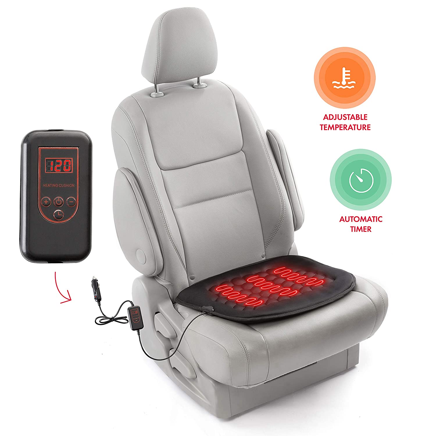 Zento Deals Car Heated Seat Cushion Hot Cover Auto 12V Heater Warmer Pad- New Upgraded Version for 2019, Safer Nonflammable UL Wiring