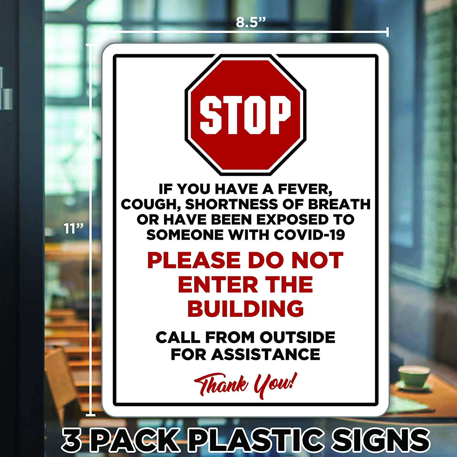 "COVID 19 Signs for Businesses, Stop Sign If You Have Fever Cough or Shortness of Breath COVID 19 Signs, 8.5""x11"" 3 Pack COVID Signs, Door Signs for Office COVID 19"