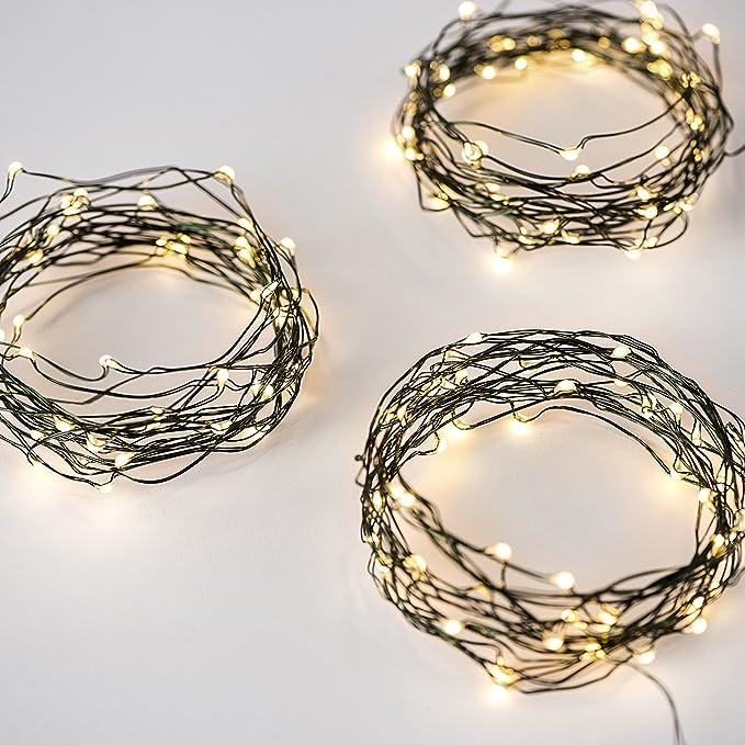 Amazon.com : LampLust Set of 3 Warm White Fairy Lights, Green ...