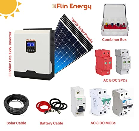 Flinkit 1000 Solar Package With Flinslim Lite 1kva 1kw 12v Solar Inverter 5 X Solar Panels Amazon In Garden Outdoors