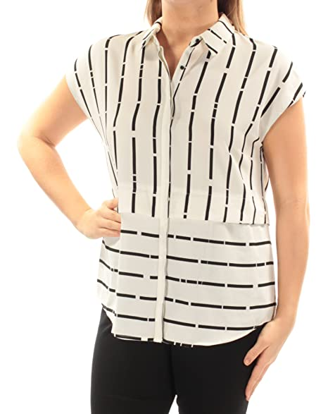 b28c1e94a0893 Alfani Women s Cap-Sleeve Button-Down Shirt (Broken Lines
