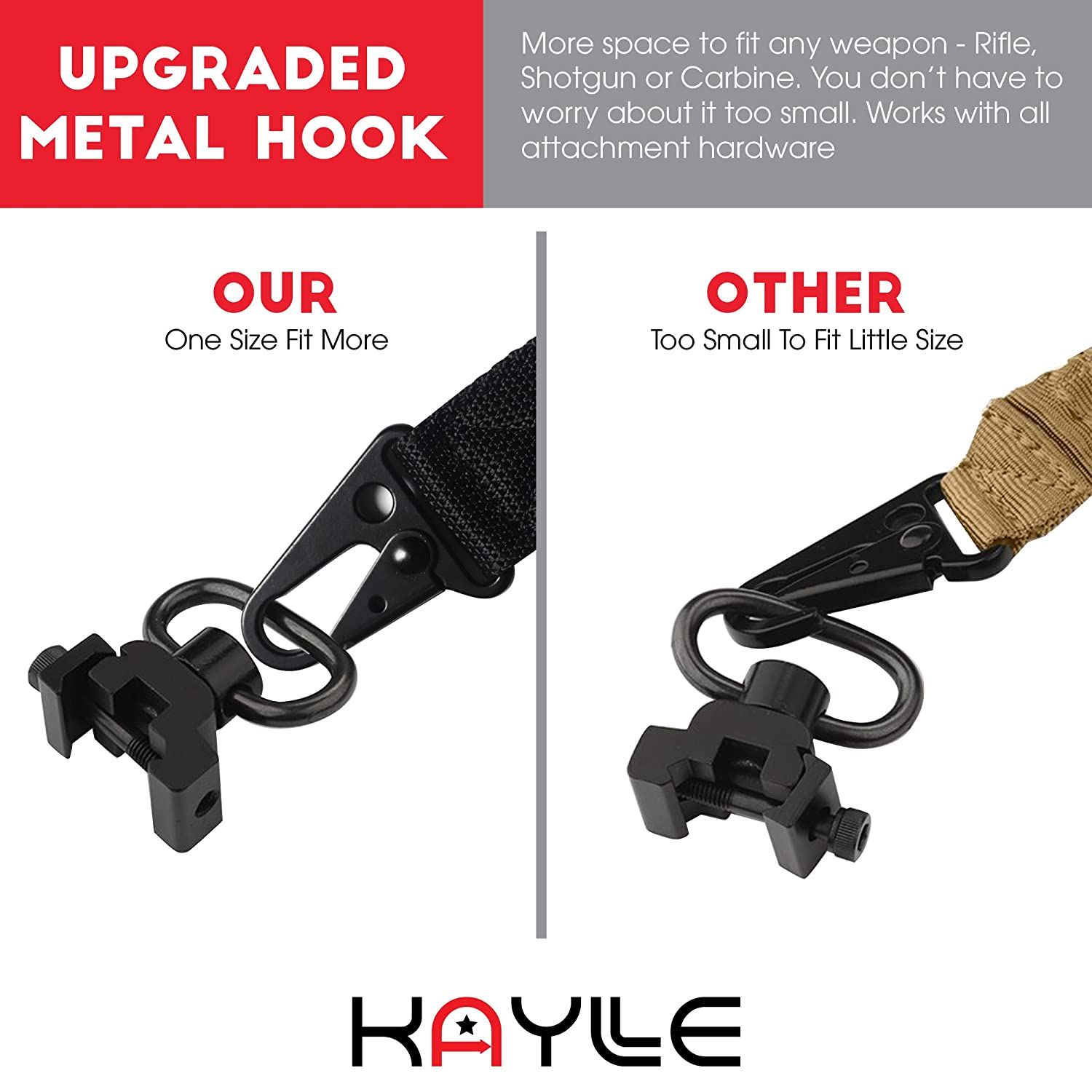 Multi Use for Tactical Hunting Shooting /& Emergency Situations Premium Shotgun Sling with Upgraded Metal Hook Fits Any Weapon KAYLLE 2-Point Rifle Sling Sniper Durable /& Quick Length Adjust
