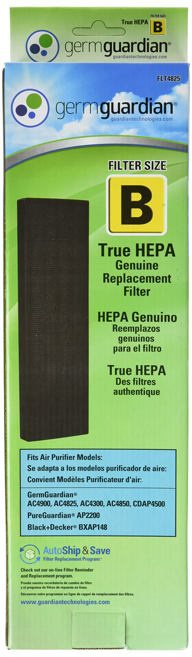 GermGuardian Air Purifier Filter FLT4825 GENUINE True HEPA Replacement Filter B for AC4300/AC4800/4900 Series Germ Guardian Air Purifiers