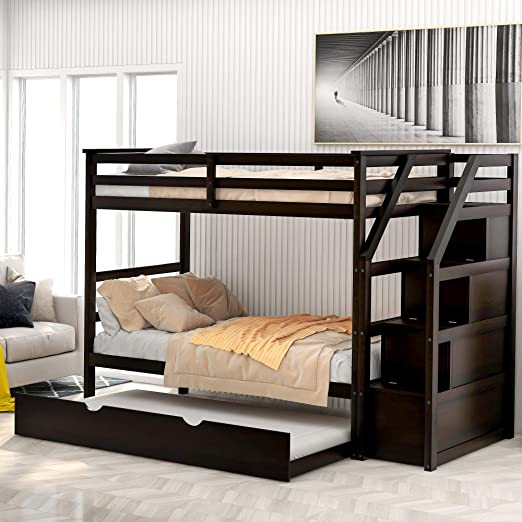 Twin Over Twin Bunk Bed For Kids Wood Twin Bunk Bed With Storage And Trundle Kitchen Dining