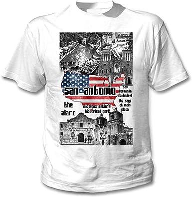 teesquare1st San Antonio USA Camiseta Blanca para Hombre de Algodon: Amazon.es: Ropa y accesorios