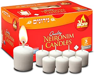 3 Hour Neironim Candles - Shabbat Neronim and Votive Wax Candle - 72 Count - by Ner Mitzvah