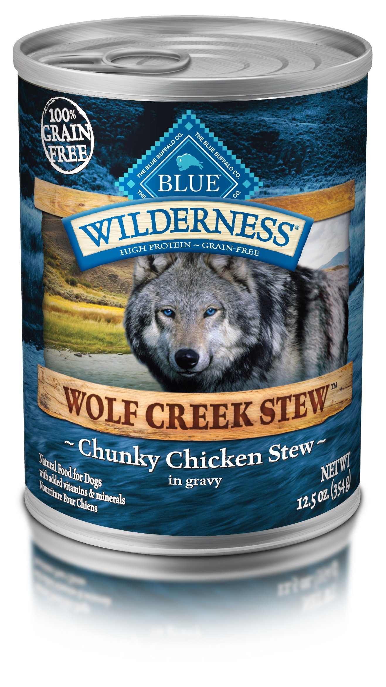 Blue Buffalo Wilderness Wolf Creek Stew High Protein Grain Free, Natural Wet Dog Food, Chunky Chicken Stew In Gravy 12.5-Oz Can (Pack Of 12) by BLUE BUFFALO