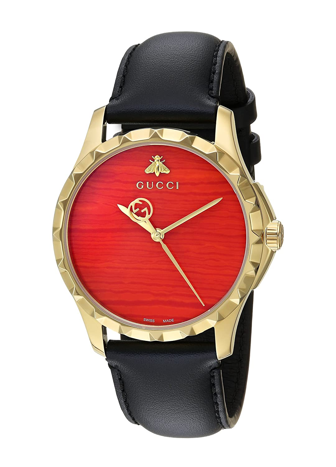 851c2f46093 Top1  Gucci Swiss Quartz Gold-Tone and Leather Dress Black Men s  Watch(Model  YA126464)