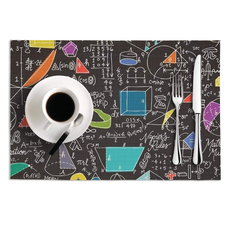 Quinnteens 洗濯可能 テーブルマット 物理学数学 哲学 ブラック 背景 滑り止め 断熱 ランチョンマット 2枚 12x18インチ One Size One Size Math Equations Black B07LBLKZKJ
