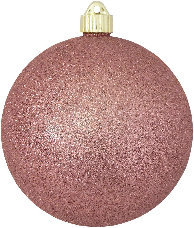 Christmas By Krebs CBK25964 Shatterproof UV-Resistant Christmas Ball Ornaments 6'' Rose Glitter 12 Piece