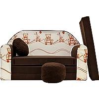 Pro Cosmo K27Enfants Canapé-lit avec Pouf/Repose-Pieds/Oreiller, Tissu, Marron, 168x 98x 60cm