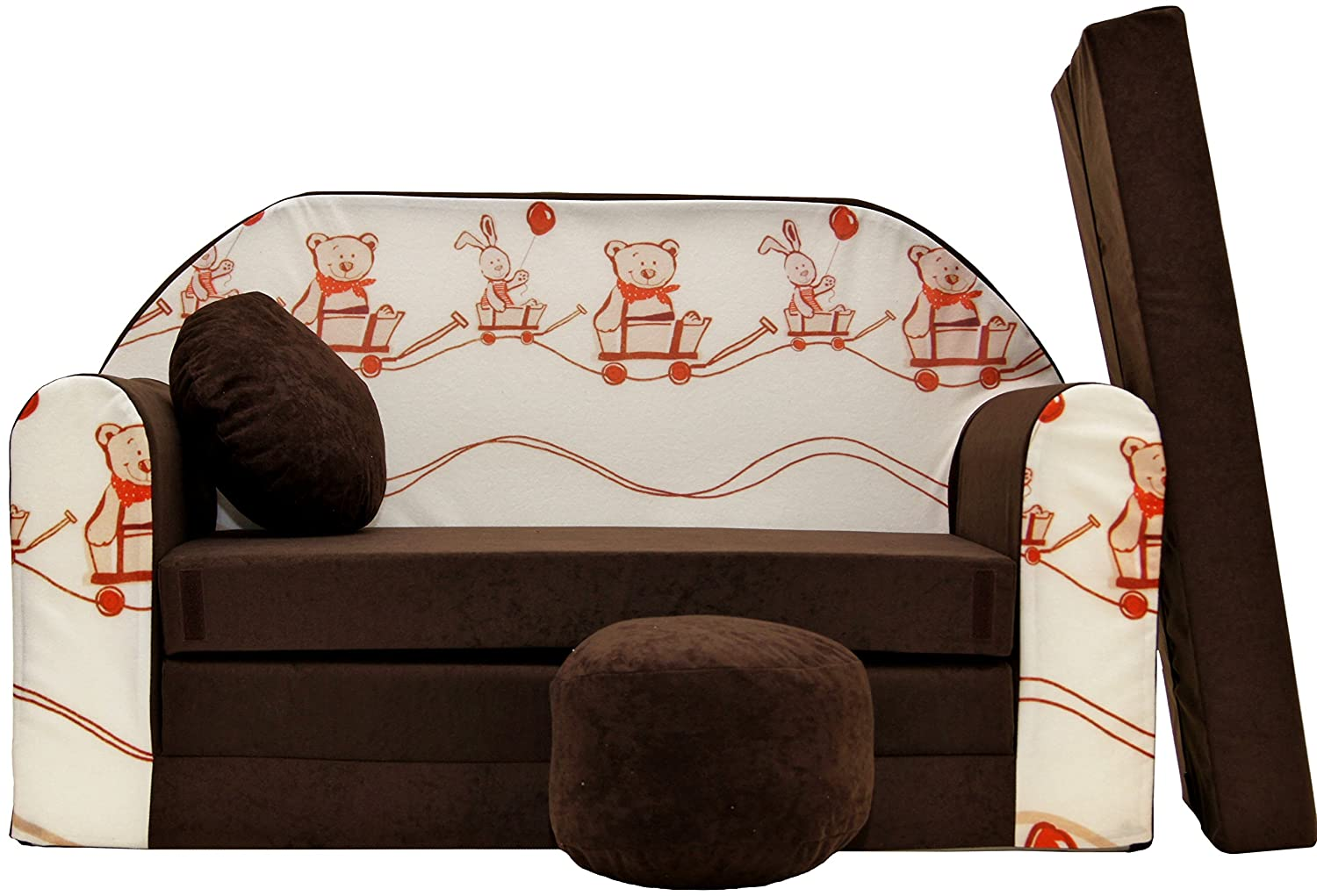 Pro Cosmo K27 Kids Sofa Bed Futon with Pouffe/Footstool/Pillow, Cotton, Brown, 168 x 98 x 60 cm 5902020145189