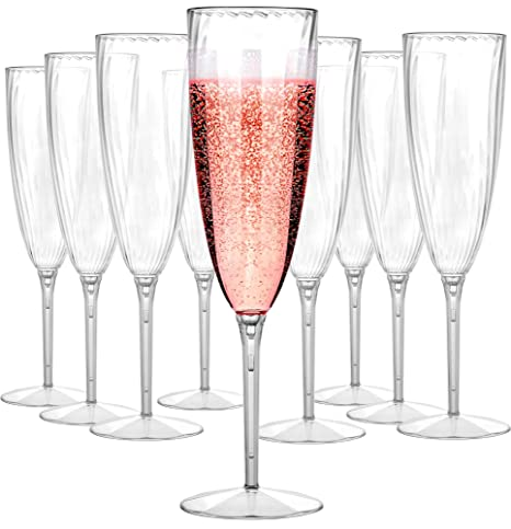 1a44b184cec Plastic Champagne Flutes Disposable - Plastic Wine Glasses Set for Wedding  - 6 oz Disposable Champagne