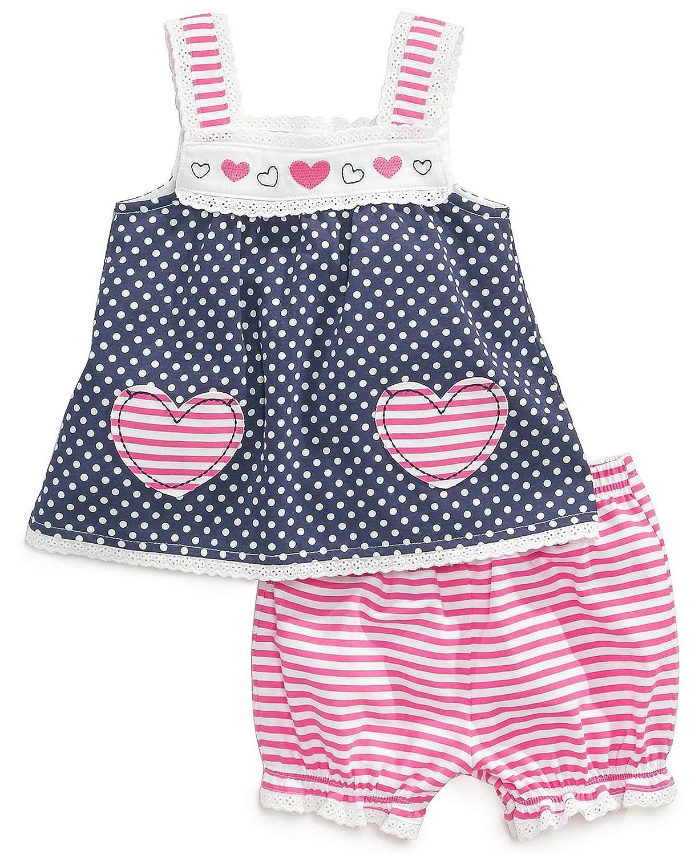 Adiasen Little Girls Dot Prints Summer Clothing Sets