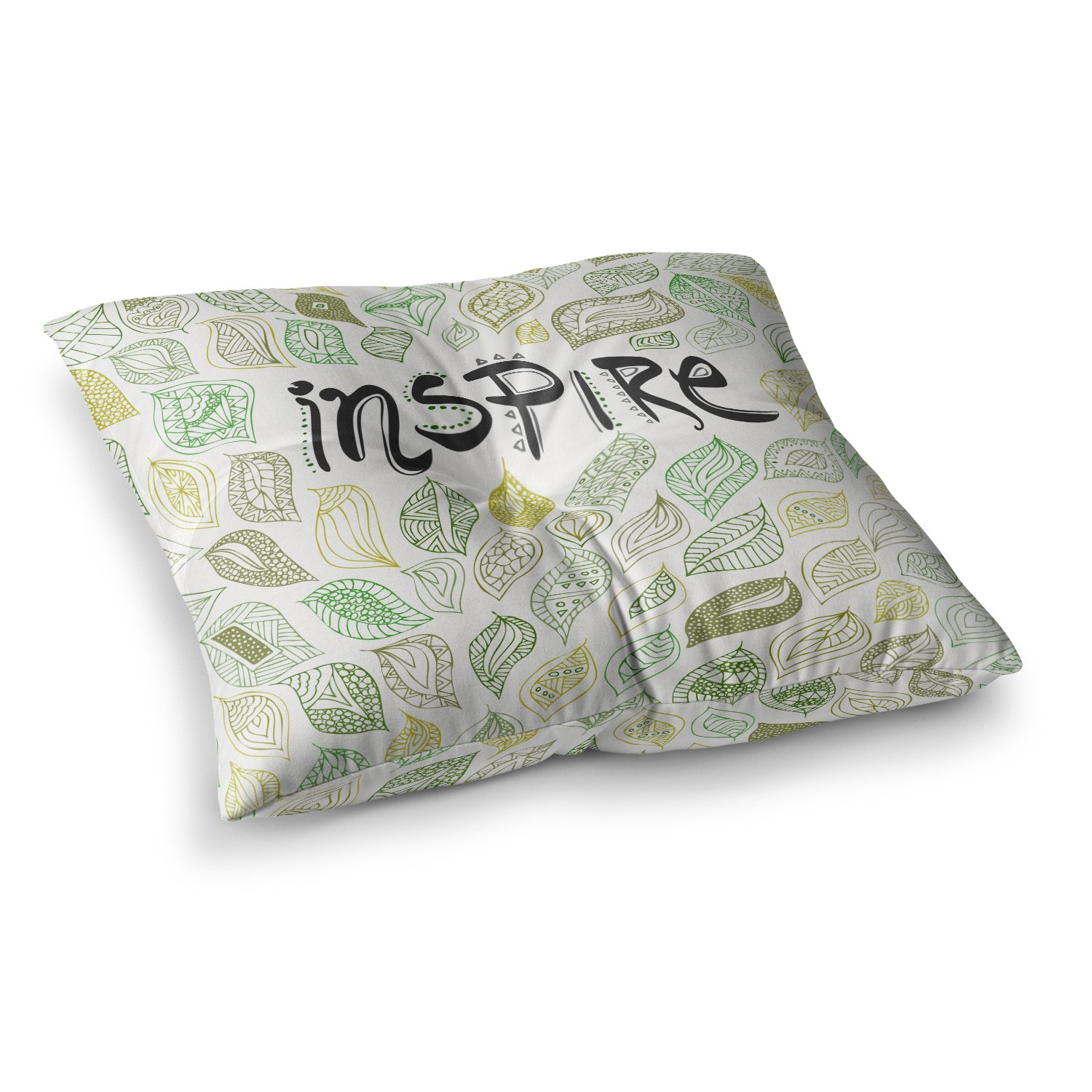 Kess InHouse Pom Graphic Design Inspire Nature Green Yellow 26 x 26 Square Floor Pillow