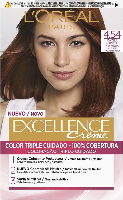 LOréal Paris Excellence Coloración Crème Triple Protección 4,54 Castaño Caoba Cobrizo