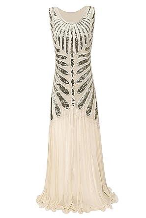Metme Womens Roaring 1920s Paisley Chiffon Flapper Gatsby Long Dress for Prom