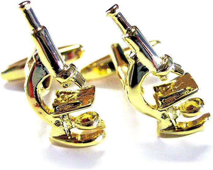 Gold Toned Scientific Microscope Cufflinks