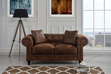 Fabulous Upholstered Chesterfield Tufted Faux Suede Loveseat Sofa 63 W Inches Dark Brown Ncnpc Chair Design For Home Ncnpcorg