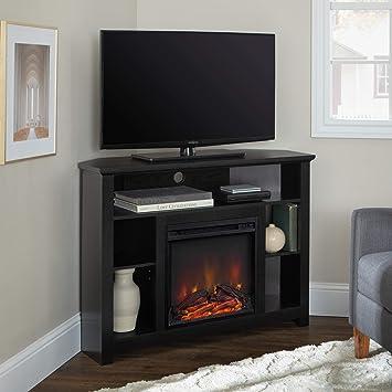 Amazon Com We Furniture 44 Wood Corner Fireplace Tv Stand