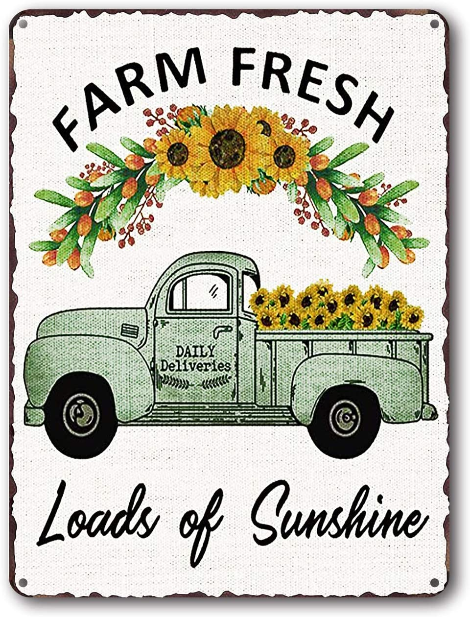 Goutoports Vintage Sunflower Tin Signs Green Car Farmhouse Home Wall Decor Metal Signs 7.9x11.8 Inch