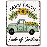 Goutoports Vintage Sunflower Kitchen Decor Tin Signs Green Car Farmhouse Home Wall Decor Metal Signs (7.9x11.8 Inch)