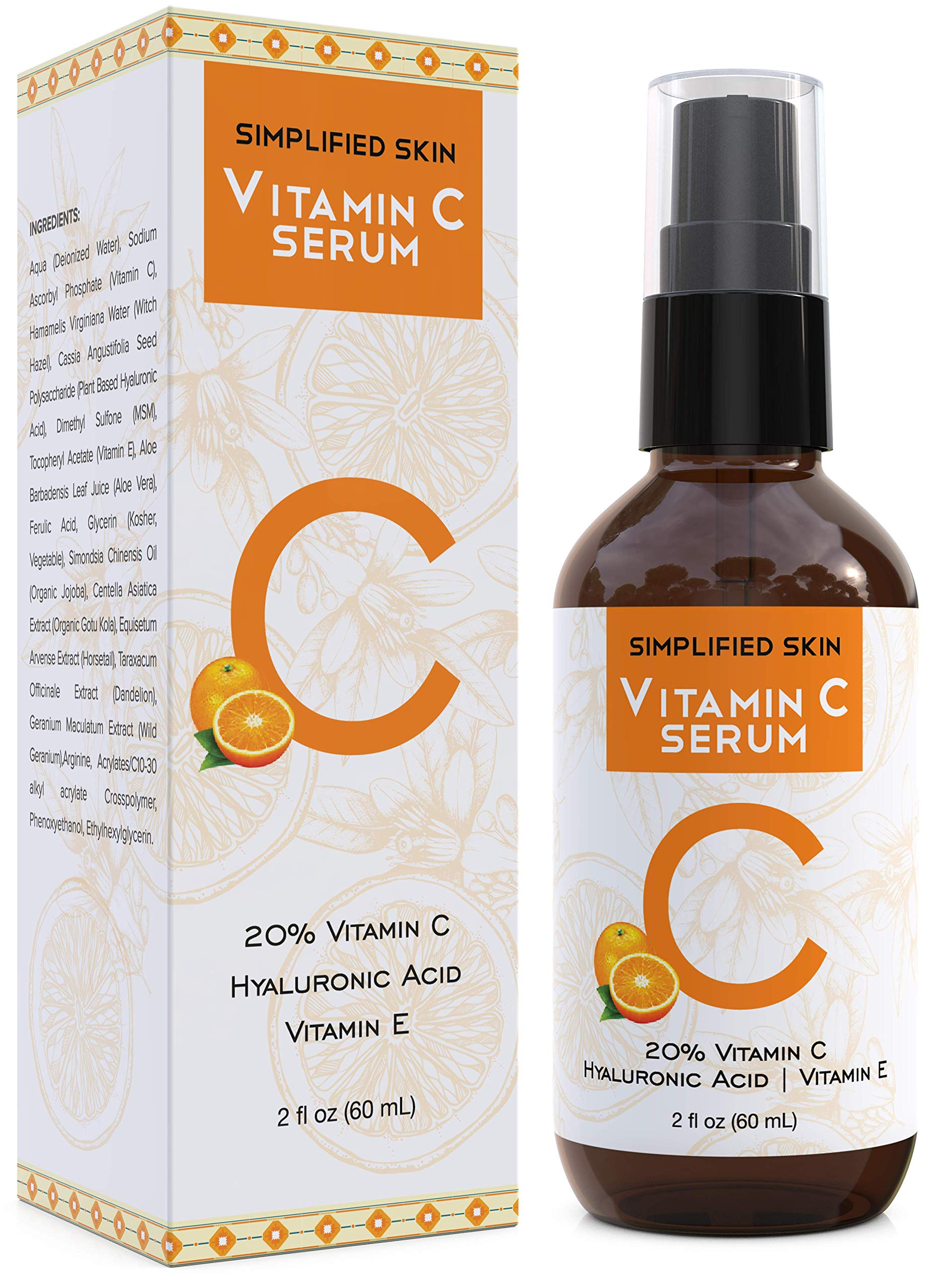 Vitamin C Serum 20% for Face & Eyes (2 oz). Anti Aging, Wrinkles, Acne & Dark Spot Remover Treatment with Hyaluronic Acid & Vit E. Antioxidant Facial Serum by Simplified Skin