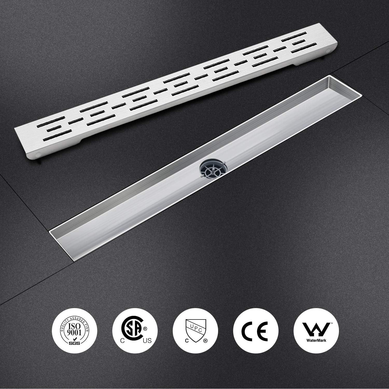 Scarico doccia con dispositivo deodorante e filtro per capelli SaniteModar Canale di scarico Doccia 360/° con sifone scarico a pavimento 60cm