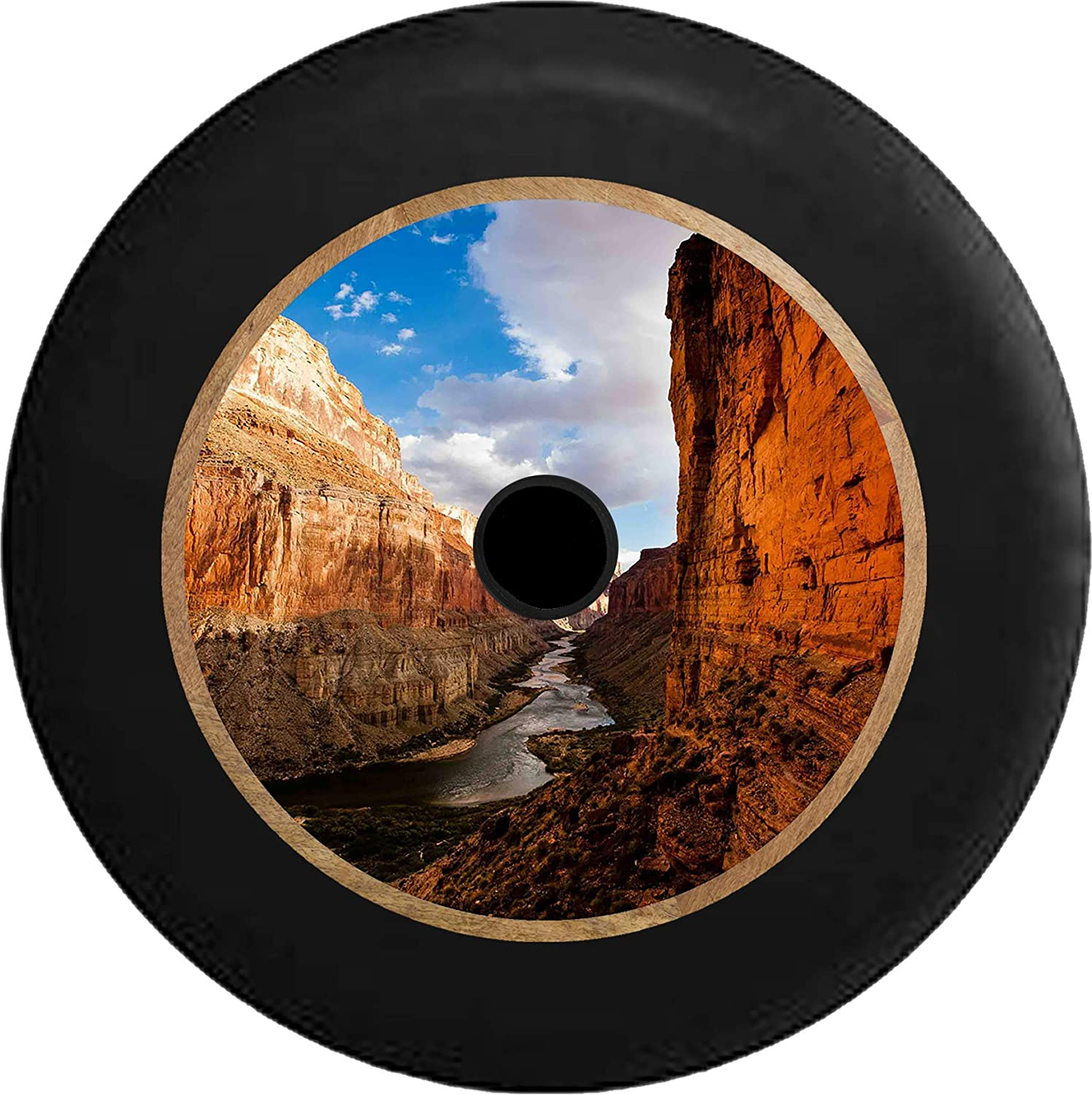 Pike Outdoors JL Series Spare Tire Cover Backup Camera Hole Full Color Grand Canyon River View from Shore Black 32 in