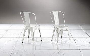 Dafnedesign.COM Lot de 2 chaises de Salle à Manger Blanc Vieilli 51 ...