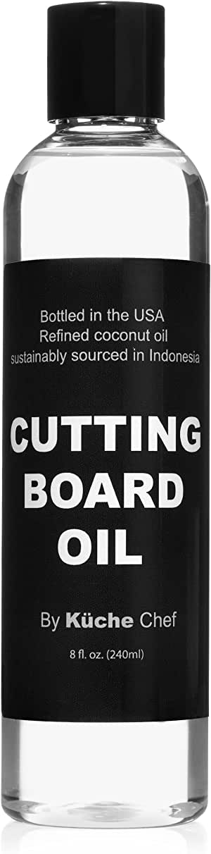 Natural Cutting Board Oil For Daily Use - Bottled in the USA from Sustainably Sourced Non GMO Refined Coconut Oil. Protect Wooden Cutting Board, Does Not Contain Petroleum (Mineral Oil)